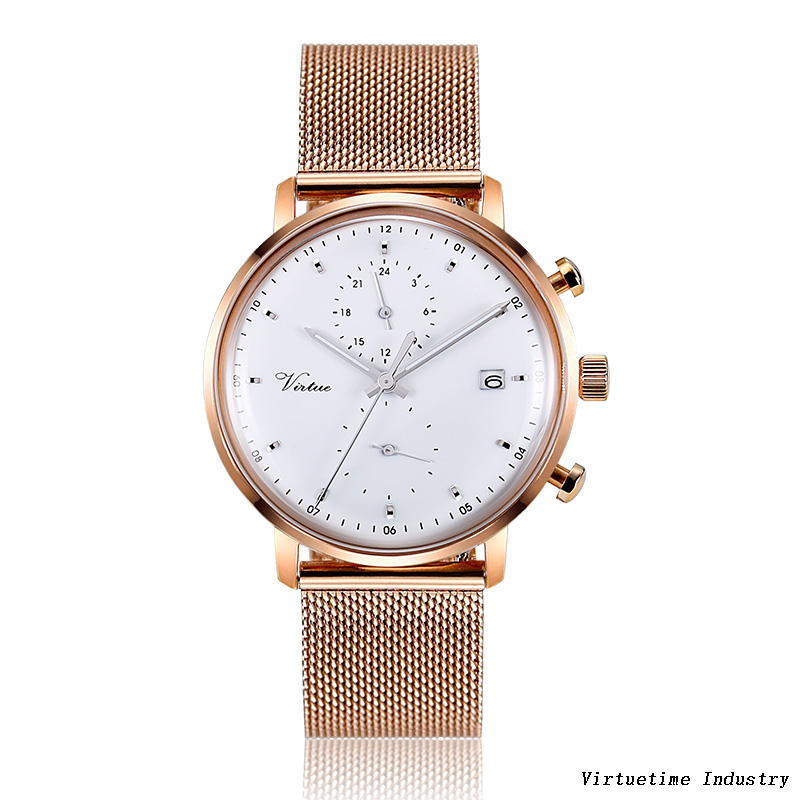 Casual watch for woman with stainless steel mesh band