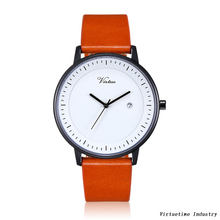 Fashion Woman's Classic Quartz Stainless Steel Watch with Genuine Leather Band